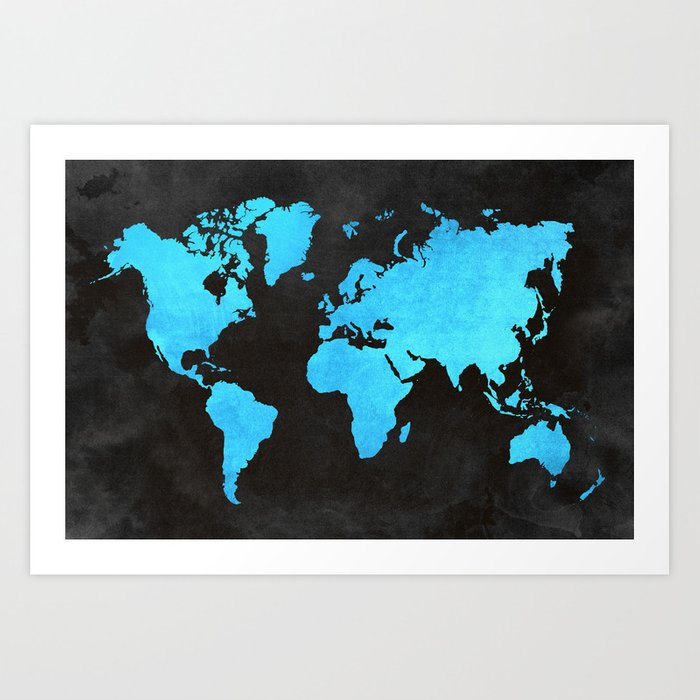 Map Of The World Inverted Blue Art Print By Theworldaheadofus
