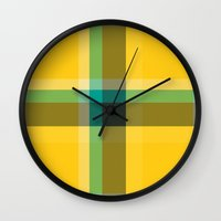 1d Wall Clocks featuring Plaid 1d by Patterns of Life