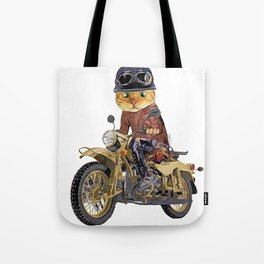 Cat riding motorcycle Tote Bag