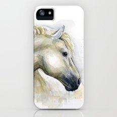 White Horse Watercolor Painting Animal Horses Slim Case iPhone SE