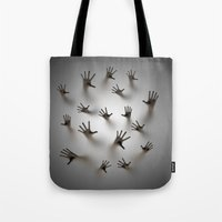 dark souls Tote Bags featuring Lost souls by GrandeDuc