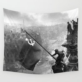 Raising a Flag over the Reichstag Wall Tapestry