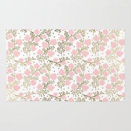 Girly blush pink faux gold elegant floral Rug