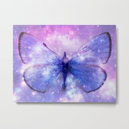Celestial Butterfly Pink Lavender Periwinkle Blue Metal Print