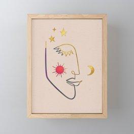 Sun & Moon Minimalist Face Line Art Framed Mini Art Print