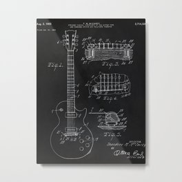 Gibson Guitar Patent Les Paul Vintage Guitar Diagram Metal Print