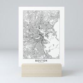 Boston White Map Mini Art Print