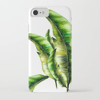 banana leaf iPhone & iPod Cases featuring Banana Leaf -watercolor  by craftberrybush