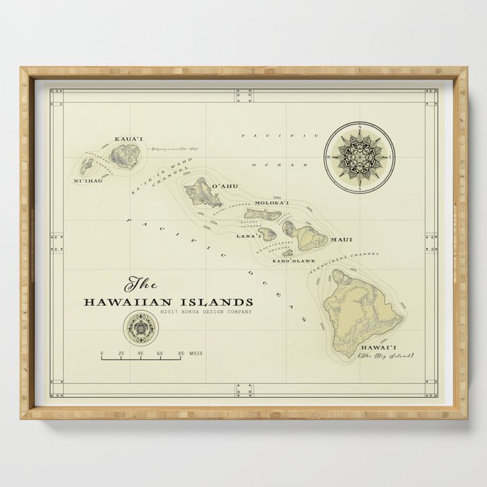 photo relating to Printable Map of Hawaiian Islands identify Hawaiian Islands [traditional motivated] map print Serving Tray as a result of kokuadesigncompany
