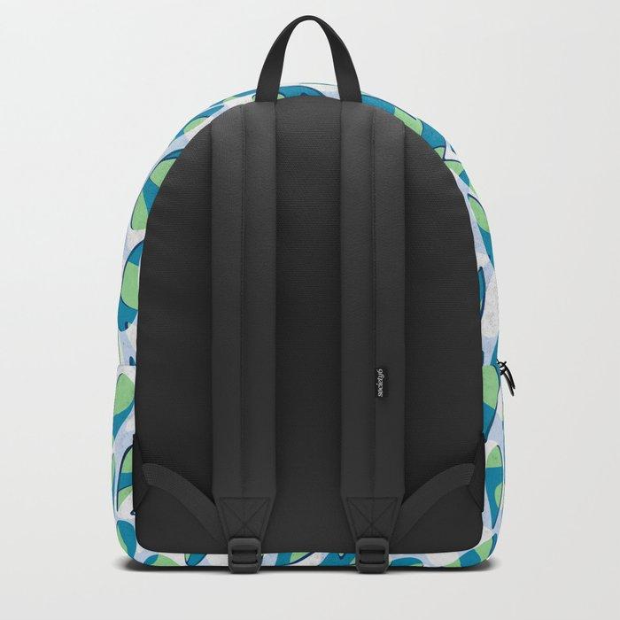 Organic Petals Pattern Blue Green Backpack