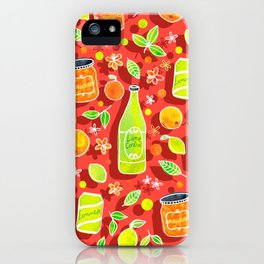 Lively Citrus Pop Art on Coral Red iPhone Case