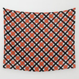 Black and orange plaid Wall Tapestry