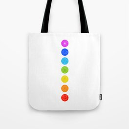 Chakra symbols with respective colors- Spiritual gifts Tote Bag