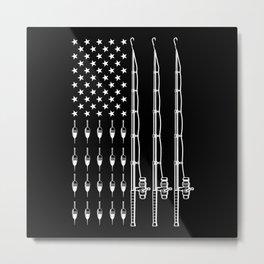 Fisher Fishing Patriotic American Flag Metal Print