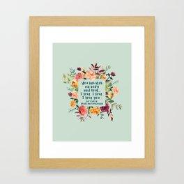 Pride and prejudice, you bewitch me florals Framed Art Print