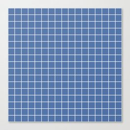 Blue yonder - blue color - White Lines Grid Pattern Canvas Print
