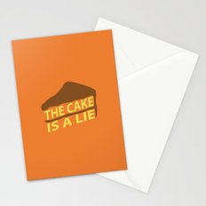 The Cake Is A Lie (Orange Version) Stationery Cards