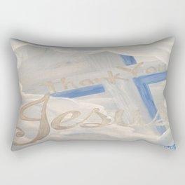 Thank You Jesus Clouds Cross Rectangular Pillow