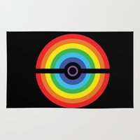 pokeball Area & Throw Rugs featuring Rainbow Pokeball by Hi 5 Graphics