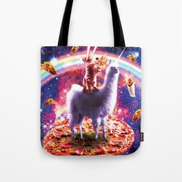 Laser Eyes Outer Space Cat Riding On Llama Unicorn Tote Bag