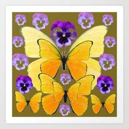SPRING PURPLE PANSY FLOWERS & YELLOW BUTTERFLIES GARDEN Art Print