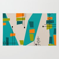 mid century modern Area & Throw Rugs featuring Mid-Century Modern Abstract by Kippygirl