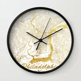 Philadelphia Map Gold Wall Clock