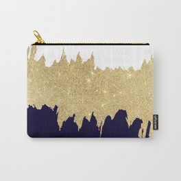 Modern navy blue white faux gold glitter brushstrokes Carry-All Pouch