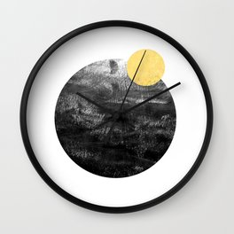 Ripley - abstract marble texture india ink painting minimal white and black with gold canvas art Wall Clock