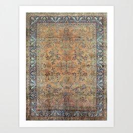 Kashan Floral Persian Carpet Print Art Print