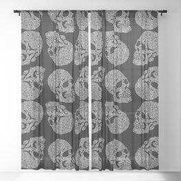 Skull doodle pattern - white on black - trippy art Sheer Curtain