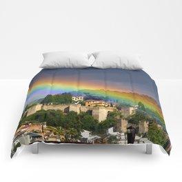 Rainbow over Dar alHorra Palace at Granada. Spain Comforters