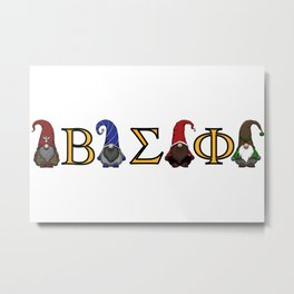 ΒΣΦ Christmas Gnomes on White (BSP) Metal Print