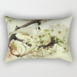Tufted Titmouse Spring Flower Farmhouse Art Country Home Decor A132 Rectangular Pillow