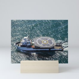 1085. SpaceX Helicopter Landing Test on the Crew Recovery Ship Mini Art Print
