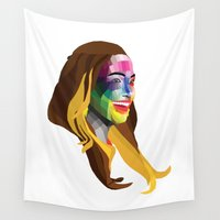 popart Wall Tapestries featuring JLo - popart portrait by Dep's