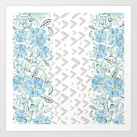 Gray arrows and blue flowers Art Print