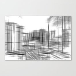 pencil drawing buildings in the city in black and white Canvas Print