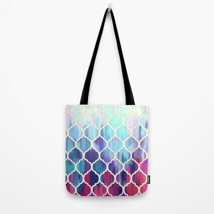 Moroccan Meltdown - pink, purple & aqua painted tiles Tote Bag