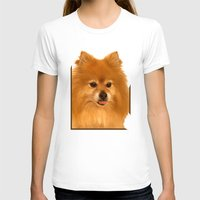 pomeranian T-shirts featuring Cute Pomeranian dog by Bruce Stanfield