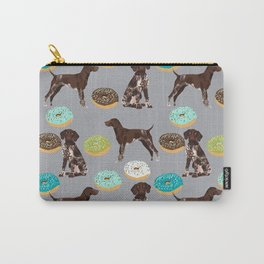 German Shorthair Pointer donuts dog art custom pet portraits of dog breeds by pet friendly Carry-All Pouch