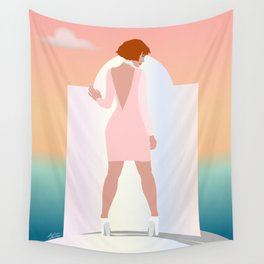 Woman in Greece with the Ocean and Sunset Wall Art Drawing  Wall Tapestry