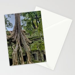 Ruins of Angkor Wat Temple Being Overgrown by Ancient Roots of Banyan Tree Stationery Cards