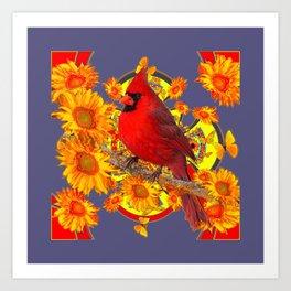 GOLDEN SUNFLOWERS RED CARDINAL GREY ART Art Print