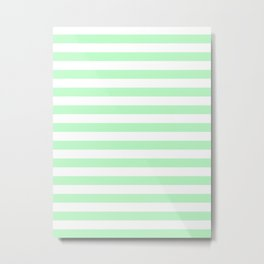 Narrow Horizontal Stripes - White and Mint Green Metal Print