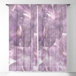 Purple Blossoming Sheer Curtain