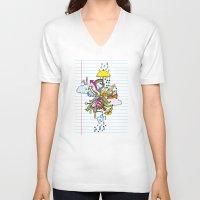 notebook V-neck T-shirts featuring Notebook World by Duru Eksioglu