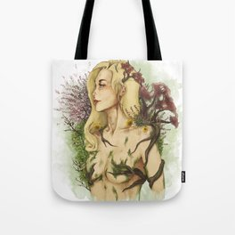 """Watercolor Painting of Picture """"Profile Woman"""" Tote Bag"""