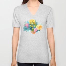 Colorful Watercolor Bouquet Unisex V-Neck