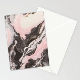 Pink and black marbled paper II Stationery Cards